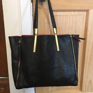 Black and Red Vegan Leather Shiraleah Bag